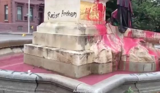The Francis Scott Key memorial in Baltimore is covered with paint. (Screen grab from ABC News 2/WMAR)