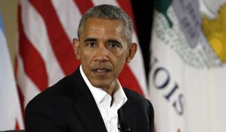 In this May 3, 2017, file photo, former President Barack Obama speaks at a community event on the Presidential Center at the South Shore Cultural Center in Chicago. (AP Photo/Nam Y. Huh, File)