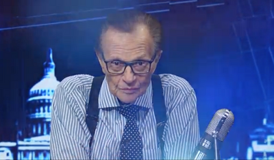 "Larry King of RT America, in a screen grab from his program ""PoliticKING"" (RT.com) [https://www.rt.com/shows/politicking-larry-king/398896-trumps-philosophy-very-basic-americanism/]"