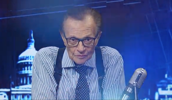 """Larry King of RT America, in a screen grab from his program """"PoliticKING"""" (RT.com) [https://www.rt.com/shows/politicking-larry-king/398896-trumps-philosophy-very-basic-americanism/]"""