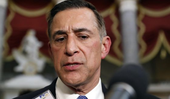 This May 17, 2017, file photo Rep. Darrell Issa, R-Calif., speaks with the media on Capitol Hill, in Washington. (AP Photo/Alex Brandon,File)