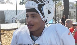 Miami Dolphins receiver Kenny Stills speaks with reporters after football practice Wednesday, Sept. 13, 2017, in Oxnard, Calif. Stills is publicly asking why more professional athletes aren't supporting Colin Kaepernick, who is out of the NFL after leading a wave of protests of social injustice last season. Stills wants more NFL players to stand with him in supporting Kaepernick. (AP Photo/Greg Beacham)