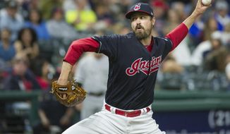 FILE - In this June 9, 2017, file photo, Cleveland Indians relief pitcher Andrew Miller delivers against the Chicago White Sox during a baseball game in Cleveland. All-Star reliever Andrew Miller will likely be activated from the disabled list Thursday, Sept. 14, and re-join the red-hot Cleveland Indians.(AP Photo/Phil Long, File)