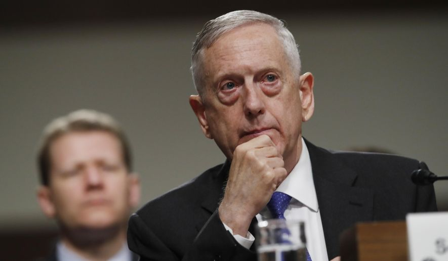 In this June 13, 2017, file photo, Defense Secretary Jim Mattis listens on Capitol Hill in Washington, while testifying before the Senate Armed Services Committee hearing on the Pentagon's budget. (AP Photo/Jacquelyn Martin, File)