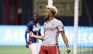 Atlanta United defender Anton Walkes reacts after scoring during the first half of an MLS soccer games against the New England Revolution, Wednesday, Sept. 13, 2017 in Atlanta. (Miguel Martinez/Atlanta Journal-Constitution via AP)