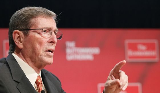 FILE - In this Tuesday, Oct. 26, 2010, file photo, Pete Domenici, former Senator from New Mexico, speaks at the Buttonwood Gathering, in New York. Domenici, who became a power broker in the Senate for his work on the federal budget and energy policy, has died. Domenici was 85. The law firm of Pete Domenici Jr., the senator's son, confirms that the former lawmaker died Wednesday, Sept. 13, 2017, in Albuquerque but did not provide any details. (AP Photo/Mark Lennihan, File)