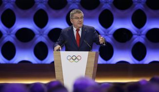 International Olympic Committee President Thomas Bach speaks during the opening IOC session in Lima, Peru, Wednesday, Sept. 13, 2017. The IOC will vote to ratify Los Angeles as the host city of the 2028 Olympic and Paralympic Games and Paris as the host city of the 2024 Games. (AP Photo/Martin Mejia)