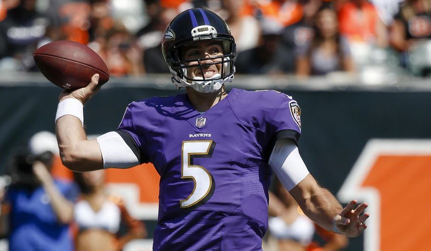 FILE - In this Sept. 10, 2017, file photo, Baltimore Ravens quarterback Joe Flacco throws in the first half of an NFL football game against the Cincinnati Bengals, in Cincinnati. In his 2017 debut, Baltimore Ravens quarterback Joe Flacco put up numbers unworthy of flowery superlatives. (AP Photo/Frank Victores, File)