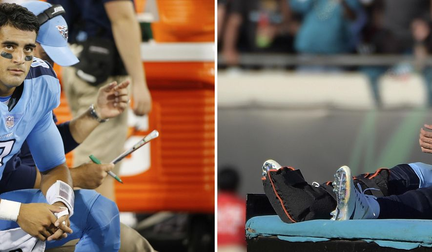 FILE - At left, in an Oct. 27, 2016, file photo, Tennessee Titans quarterback Marcus Mariota sits on the sideline in the first half of an NFL football game against the Jacksonville Jaguars in Nashville, Tenn. At right, in a Dec. 24, 2016, file photo, Titans quarterback Marcus Mariota leaves the field on a cart after he was injured during the second half of an NFL football game against the Jacksonville Jaguars in Jacksonville, Fla. Mariota has left Jacksonville a loser in each of his first two games against Tennessee's AFC South rival, and now the Titans quarterback is heading back to the stadium where he broke his right leg last Christmas Eve. (AP Photo/File)
