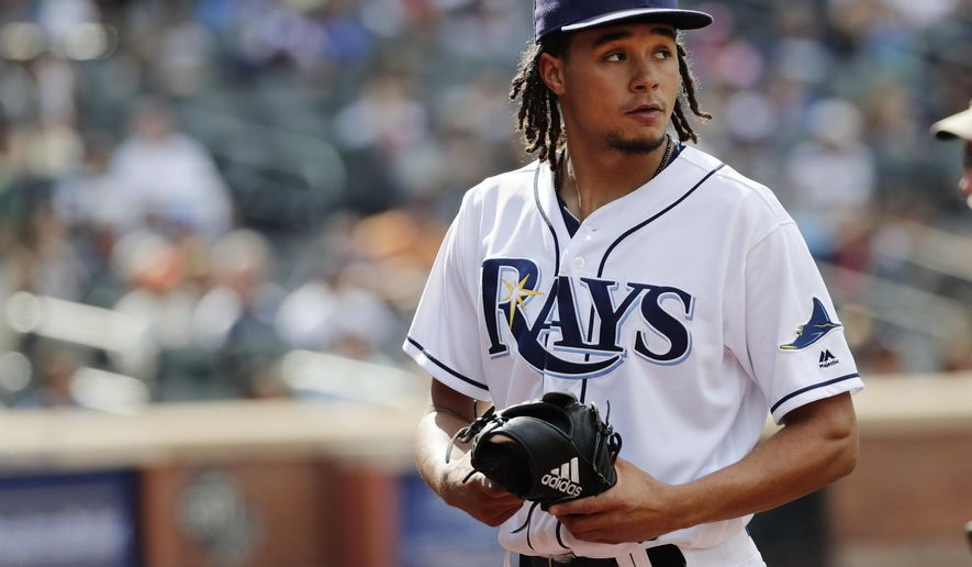 Tampa Bay Rays starting pitcher Chris Archer leaves the game during the fifth inning of a baseball game against the New York Yankees Wednesday, Sept. 13, 2017, in New York. (AP Photo/Frank Franklin II)