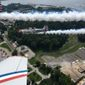 The Geico SkyTypers Air Show team flies over Annapolis, Maryland, Thursday in preparation for their performance at the Andrews Air Show set to take place over the weekend. The team flies vintage World War II-era fighter planes that were used to train pilots. (Photographs by Laura Kelly/The Washington Times)