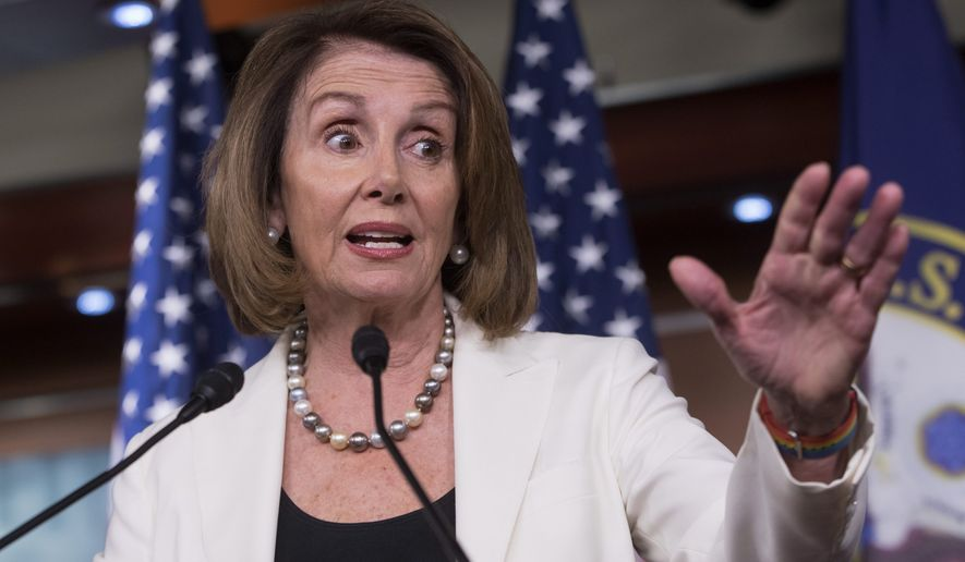 House Minority Leader Nancy Pelosi says she is thinking about sensors, drones and access roads for border security, but President Trump is sticking with his demand for a wall. (Associated Press)