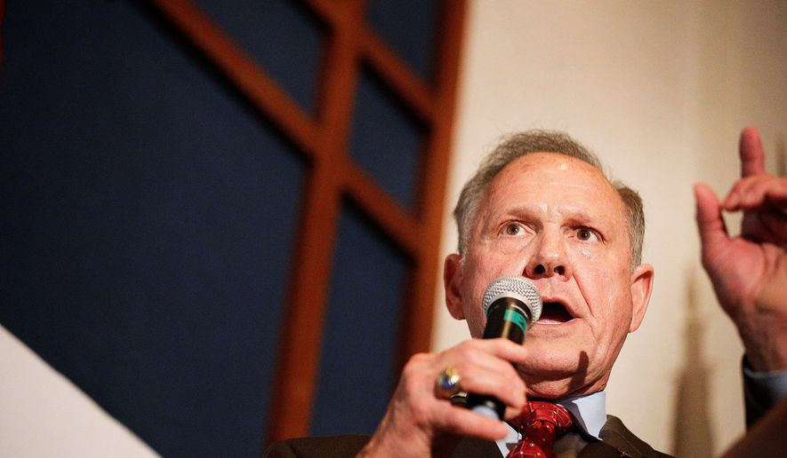 In this Aug. 15, 2017, file photo, former Alabama Chief Justice and U.S. Senate candidate Roy Moore speaks to supporters in Montgomery, Ala. Alabama Sen. Luther Strange on Tuesday, Aug. 29, launched his first salvo against challenger Roy Moore in the contentious Senate race, calling Moore a hypocrite who has spent 40 years putting himself and his ambition ahead of Alabamians.  (AP Photo/Brynn Anderson, File)