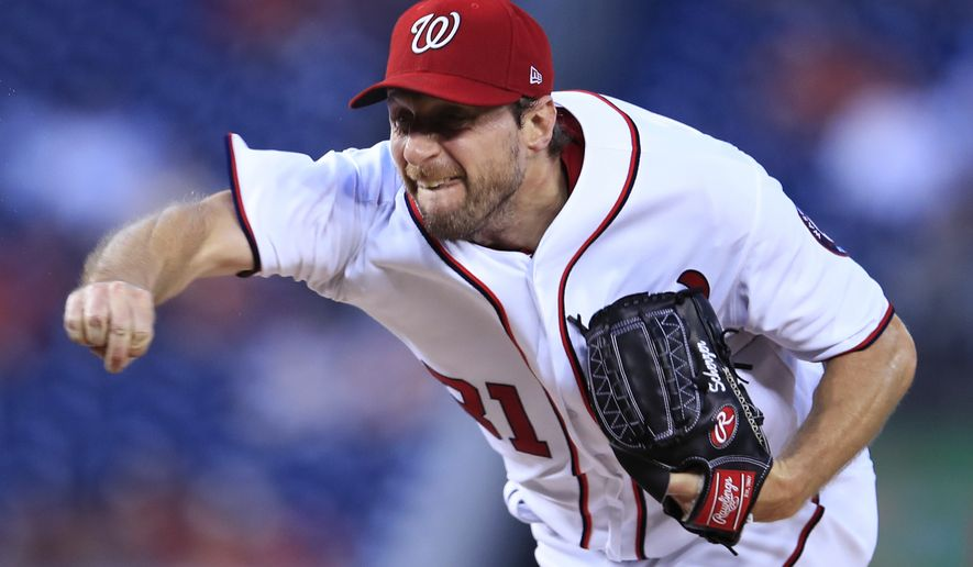 Washington Nationals starting pitcher Max Scherzer (31) throws during the first inning of a baseball game against the Atlanta Braves in Washington, Wednesday, Sept. 13, 2017. (AP Photo/Manuel Balce Ceneta)