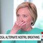 "Former Secretary of State Hillary Clinton demonstrates ""alternate nostril breathing"" for CNN's Anderson Cooper during an interview that aired Sept. 14, 2017. (Image: Twitter, CNN)"