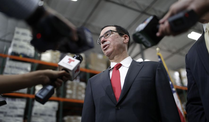"FILE - In this Monday, Aug. 28, 2017, file photo, Treasury Secretary Steven Mnuchin speaks at a news conference in Las Vegas. The Treasury Department says that concerns about secure communications with government agencies is what prompted Mnuchin to inquire about using a government plane for his European honeymoon in August. In a statement, the department says the request for a government plane was withdrawn because a ""secure communications option was identified"" without the use of a government plane. (AP Photo/John Locher, File)"