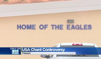 "Vista Del Lago High School in Folsom, California, is warning students that there's a time and place for them to chant ""USA,"" and that sporting events might not be the appropriate venue because it could send an ""unintended message"" to opponents. (CBS13)"