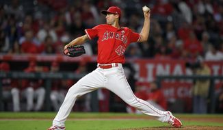 Los Angeles Angels starting pitcher Tyler Skaggs throws to a Houston Astros batter during the fifth inning of a baseball game Wednesday, Sept. 13, 2017, in Anaheim, Calif. (AP Photo/Mark J. Terrill)