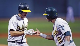Oakland Athletics' Matt Olson, left, is congratulated by Khris Davis after crossing home plate with a two-run home run off Boston Red Sox starting pitcher Doug Fister during the first inning of a baseball game at Fenway Park in Boston, Wednesday, Sept. 13, 2017. (AP Photo/Charles Krupa)