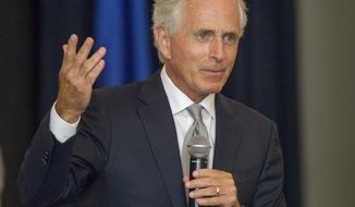 FILE - In a Friday, Aug. 18, 2017 file photo, U.S. Sen. Bob Corker, R-Tenn., speaks at a luncheon hosted by the Kiwanis and Rotary clubs in Columbia, Tenn. Conservative activist Andy Ogles announced Thursday, Sept. 14, 2017, he will run for the U.S. Senate seat held by Tennessee Republican Bob Corker, who has so far refused to divulge whether he will seek a third term. (AP Photo/Erik Schelzig, File)