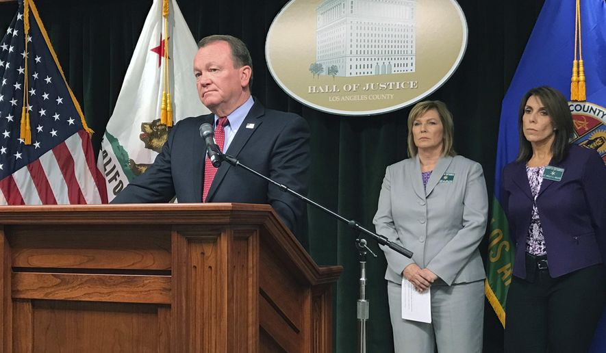 Los Angeles County Sheriff Jim McDonnell speaks at a news conference in downtown Los Angeles on Thursday, Sept. 14, 2017. McDonnell announced the arrest of a deputy accused of sexually assaulting two female inmates. McDonnell said that Giancarlo Scotti is accused of assaulting the inmates in their cell at Century Regional Detention Center. McDonnell says the alleged incident occurred in the early morning hours Wednesday, Sept. 13, 2017, and one of the inmates reported it to a jail instructor. (AP Photo/Mike Balsamo)