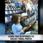 A Detroit Lions fan has forfeited his season tickets and is banned from future events at Ford Field after he posted a Snapchat photo using the N-word to describe a pair of fans who sat through the national anthem on Sunday.(WJBK)