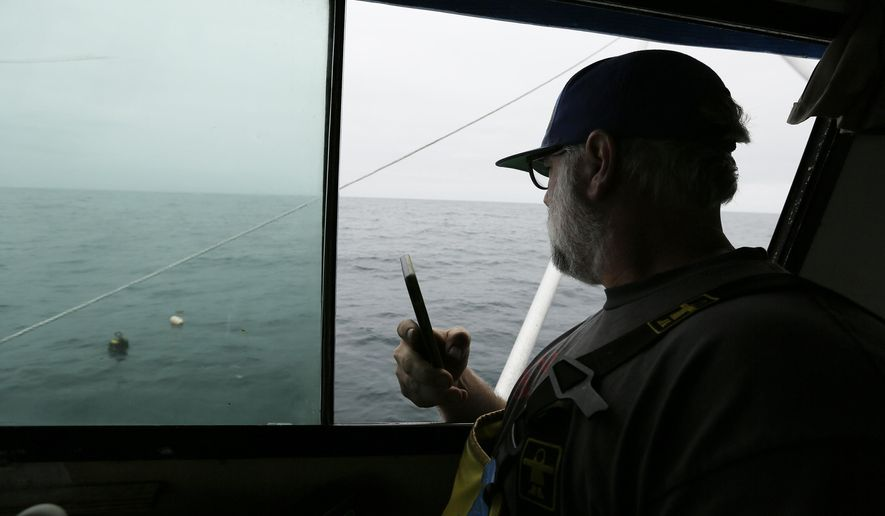 In this Monday, Aug. 7, 2017 photo, Jake Bunch uses his phone to mark the position of an abandoned crab pot off Half Moon Bay, Calif. Fisherman like Bunch are using GPS positioning in their cellphones to voluntarily step up recovery of abandoned crab pots before they snare whales. Some environmental groups say the state should put in place more mandatory protection measures, such as blocking fishermen from especially important waters for whales. (AP Photo/Eric Risberg)