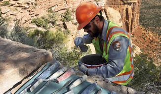 In this Sept. 11, 2017, photo, perched on a ledge above Monument Canyon, stonemason Scott Banjac, of Fruita, Colo., applies a special mortar in between the red sandstone rocks along Rimrock Drive as a crew of stone masons rebuild the rock guardrails in the Colorado National Monument near Fruita. The crew is using a mortar made of a lime, sand and Portland cement that is similar to the mortar that the original Civilian Conservation Corps builders of the wall used. (Gretel Daugherty/The Grand Junction Daily Sentinel via AP)