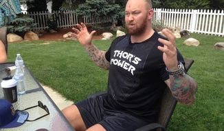 "Hafthor Bjornsson, who portrays Gregor ""The Mountain"" Clegane, in the HBO series, ""Game of Thrones,"" gestures during an interview in Concord, N.H., Thursday, Sept. 14, 2017. Bjornsson is taking part in the annual New Hampshire Highland Games and Festival this weekend in Lincoln, N.H. (AP Photo/Kathy McCormack)"