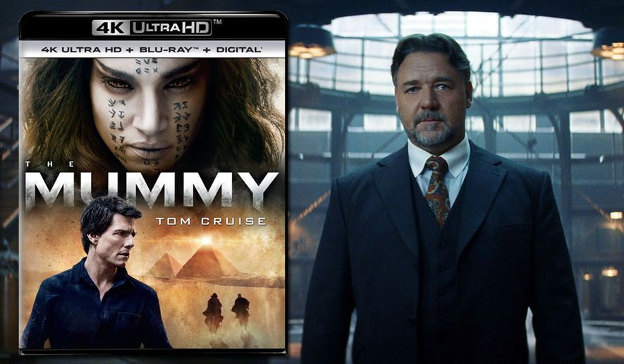 "Dr. Henry Jekyll (Russell Crowe) tries to stop ""The Mummy,"" now available on 4K Ultra HD from Universal Studios Home Entertainment."