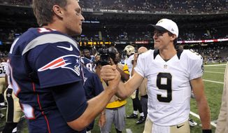 FILE - In this Aug. 22, 2015, file photo, New England Patriots quarterback Tom Brady, left, greets New Orleans Saints quarterback Drew Brees (9) after an NFL preseason football game in New Orleans. The Patriots and the Saints meet Sunday, Sept. 17, in New Orleans. (AP Photo/Bill Feig, File)