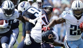 FILe - At left, in an Aug. 27, 2017, file photo, Tennessee Titans running back Derrick Henry (22) runs against the Chicago Bears in the second half of an NFL football preseason game, in Nashville, Tenn. At right, also in an Aug. 27, 2017, file phto, Tennessee Titans running back Derrick Henry (22) runs against the Chicago Bears in Nashville, Tenn. Mike Mularkey has made it clear Tennessee is a run-first team. Well, the Titans need to pick it up with Pro Bowl running back DeMarco Murray and Derrick Henry after a sluggish debut this season when they visit the Jaguars. (AP Photo/Mark Zaleski, File)