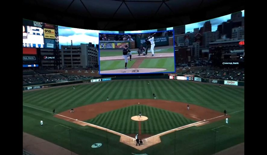 """This May 2, 2017, photo provided by Intel and Major League Baseball shows a """"fan"""" view from a baseball game in Detroit. The virtual-reality coverage includes a view using standard television cameras, top center, showing the pitcher, batter and catcher in one shot. Major League Baseball, in a partnership with Intel, has had a free game in VR every Tuesday, subject to blackouts of hometown teams. (Courtesy of Intel/MLB via AP)"""