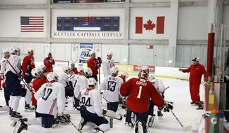 Washington Capitals head coach Barry Trotz, right, directs his team on the next drill during practice at their NHL hockey practice facility, Friday, Sept. 15, 2017 in Arlington, Va. (AP Photo/Alex Brandon) **FILE**