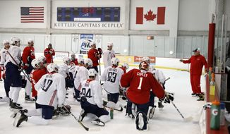 Washington Capitals head coach Barry Trotz, right, directs his team on the next drill during practice at their NHL hockey practice facility, Friday, Sept. 15, 2017 in Arlington, Va. (AP Photo/Alex Brandon)