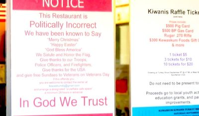 "Kevin Scheunemann of Kewaskum, Wisconsin, has generated national attention for a sign that warns potential Dairy Queen customers of ""politically incorrect"" speech within his establishment. The franchisee welcomes phrases like ""God bless America"" and ""In God we trust."" (Image: WDJT CBS Wisconsin screenshot)"