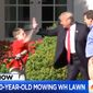 """President Trump gives a """"high-five"""" to  Frank Giaccio, 11, as he mows the White House lawn, Friday, Sept. 15, 2017. (Image: MSNBC screenshot)"""