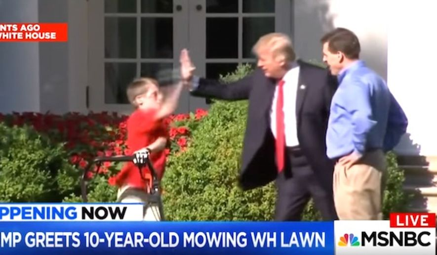 "President Trump gives a ""high-five"" to  Frank Giaccio, 11, as he mows the White House lawn, Friday, Sept. 15, 2017. (Image: MSNBC screenshot)"