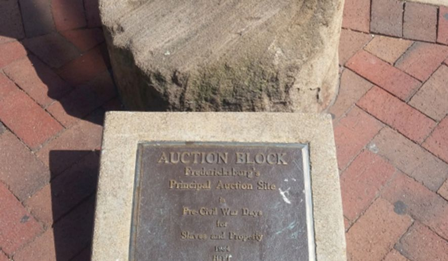 A historic auction block located in Fredericksburg, Va., which was used to sell slaves. City residents will weigh in online and at a public hearing about the fate of the controversial marker. (City of Fredericksburg website)