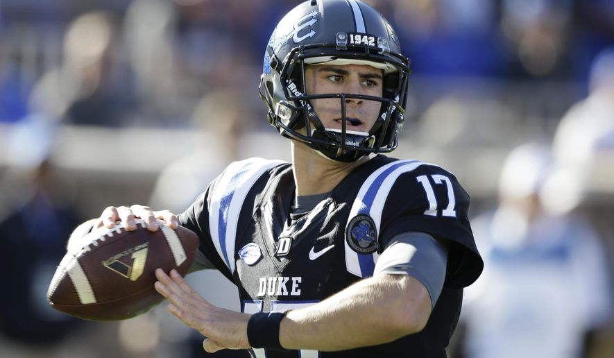 FILE - In this Saturday, Nov. 5, 2016 file photo, Duke's Daniel Jones (17) passes against Virginia Tech during the first half of an NCAA college football game in Durham, N.C. Duke knows the danger of assuming an easy victory against an opponent with a poor record and some befuddling losses in other words, a team like Baylor. Not long ago, the Blue Devils were the ones being looked past. Duke plays host to the Bears on Saturday, Sept. 16, 2017 hoping to earn its first 3-0 start since 2014.  (AP Photo/Gerry Broome, File)