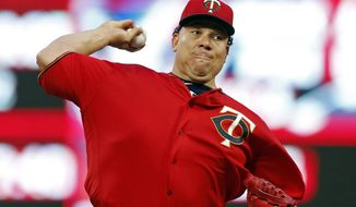 Minnesota Twins pitcher Bartolo Colon throws to a Toronto Blue Jays batter during the first inning of a baseball game Friday, Sept. 15, 2017, in Minneapolis. (AP Photo/Jim Mone)
