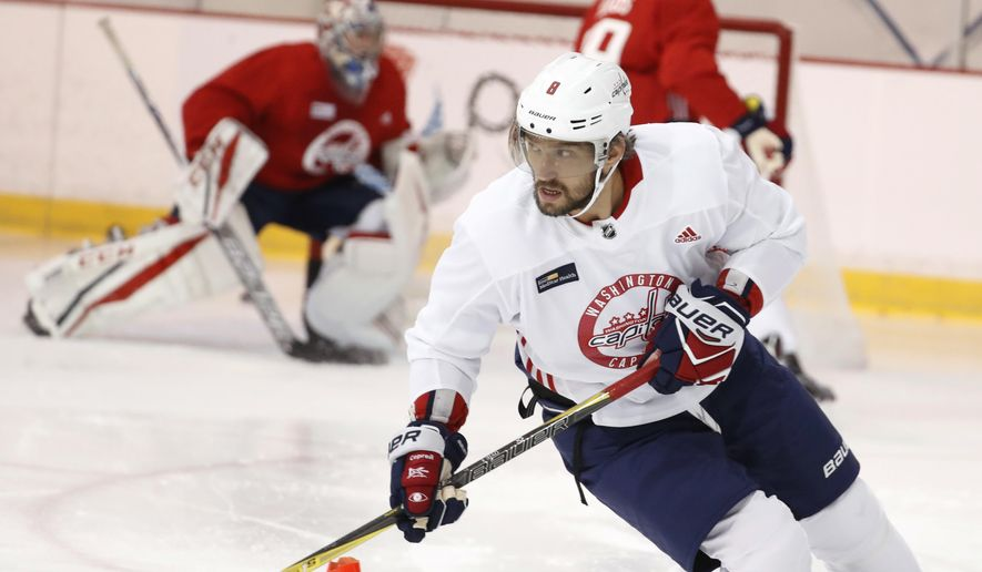 Washington Capitals left wing Alex Ovechkin, from Russia, skates during practice at their NHL hockey practice facility, Friday, Sept. 15, 2017 in Arlington, Va. (AP Photo/Alex Brandon)