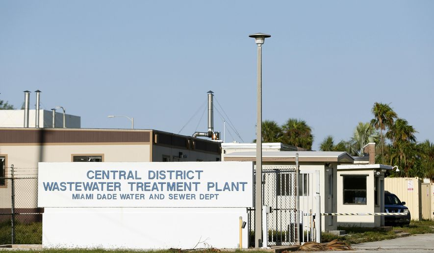 The entrance to the Central District Wastewater Treatment Plant is shown, Thursday, Sept. 14, 2017, on Virginia Key in Miami, Fla. About six million gallons of wastewater was released from the plant during a seven-hour power outage overnight Sunday that disabled its pumps. (AP Photo/Wilfredo Lee)