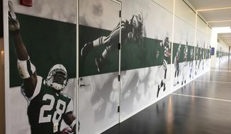 Murals decorate a hallway at the  New York Jets NFL football training facility, Friday, Sept. 15, 2017, in Florham Park, N.J. Jets coach Todd Bowles went to work on changing the culture around the team this offseason by starting with the walls. The coach redecorated the hallways with photos of star players from the team's past, giving the current Jets something to strive for during a rebuilding season for the franchise (AP Photo/Dennis Waszak Jr.)