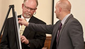Tennessee Bureau of Investigation Special Agent Brent Booth shows Assistant District Attorney Paul Hagerman where items belonging to Holly Bobo were found by former witnesses who testified. Day five of the Holly Bobo murder trial was held Friday, Sept. 15, 2017, in Savannah, Tenn. Zach Adams is charged with felony first-degree murder, especially aggravated kidnapping, aggravated rape of Holly Bobo. (Kenneth Cummings /The Jackson Sun via AP, Pool)