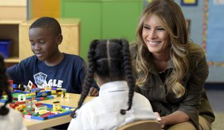First lady Melania Trump visits with children at a youth center at Andrews Air Force Base, Md., Friday, Sept. 15, 2017. (AP Photo/Susan Walsh)