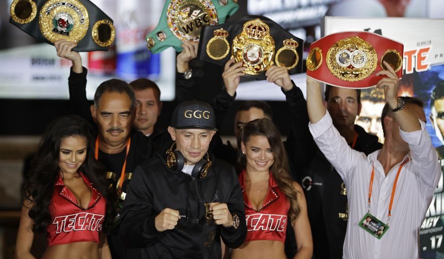 """FILE - In this Sept. 12, 2017, file photo, Gennady Golovkin poses on stage during the fighter arrivals in Las Vegas. Mexico's popular Saul """"Canelo"""" Alvarez squares off Saturday, Sept. 16, against Gennady Golovkin in a long-anticipated middleweight bout as part of the Mexico Independence Day celebrations in Las Vegas. (AP Photo/John Locher, File)"""