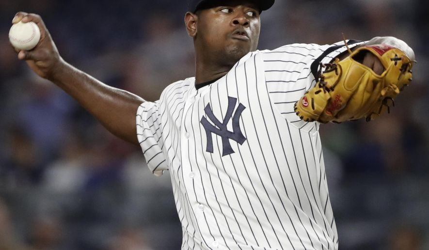 New York Yankees' Luis Severino delivers a pitch during the first inning of a baseball game against the Baltimore Orioles Friday, Sept. 15, 2017, in New York. (AP Photo/Frank Franklin II)