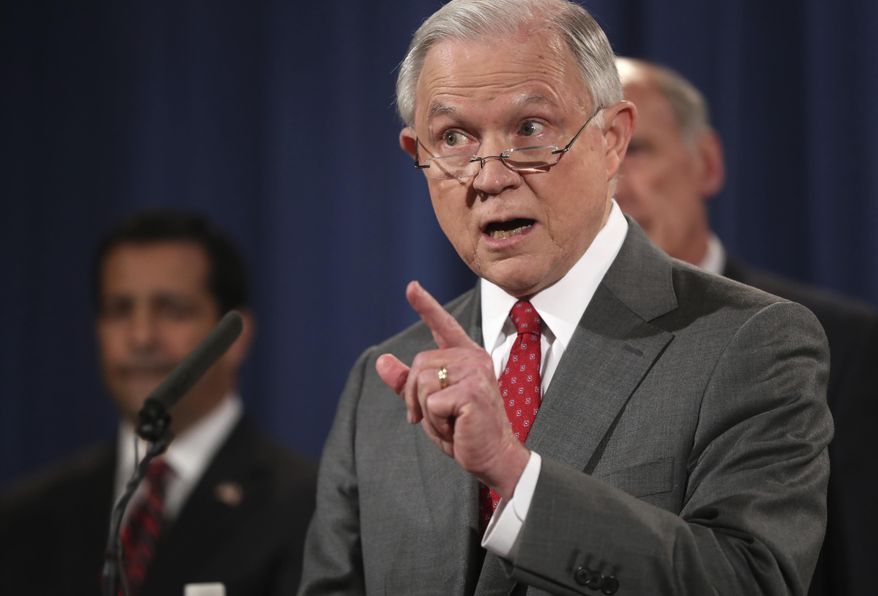 In this Aug. 4, 2017, file photo, U.S. Attorney General Jeff Sessions, speaks at a news conference at the Justice Department in Washington. (AP Andrew Harnik File)