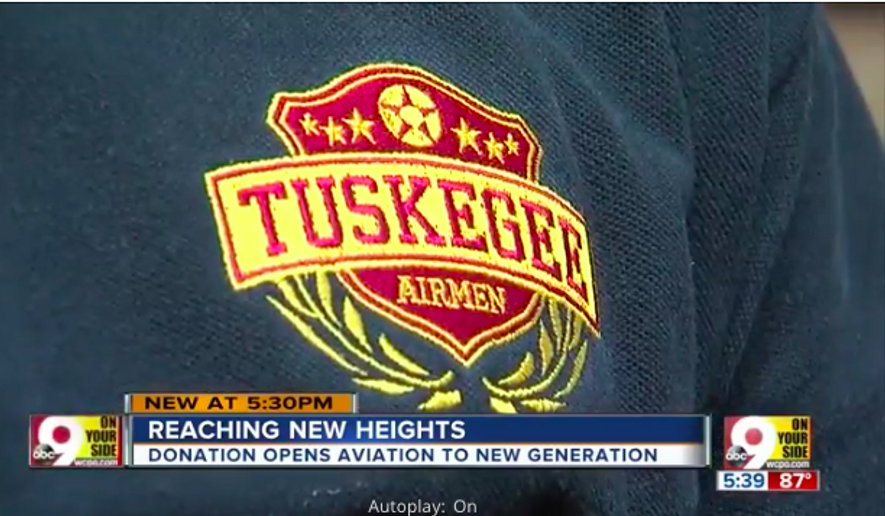 Screen capture from WCPO story on the establishment of a youth aviation wing for the Tuskegee Airman chapter in Cincinnati, Ohio. (WCPO.com)